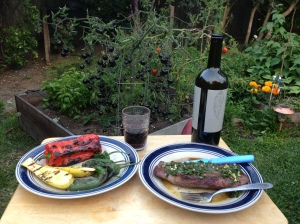 Steak with chimichurri sauce, grilled veggies. Eating in the garden cause mama was sick!