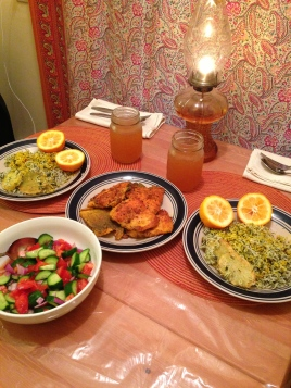 Fried California Yellowtail with herbed rice and garden salad