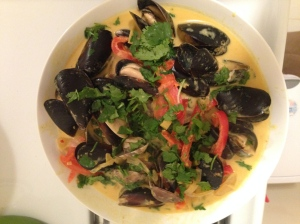 Mussels and  Clams in homemade curry sauce