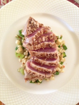 Seared Ahi Tuna over a corn and green onion salad with lemon ginger vinaigrette
