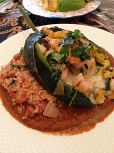 Roasted Poblano w/shrimp and plantain over rice and smoked chipotle sauce!